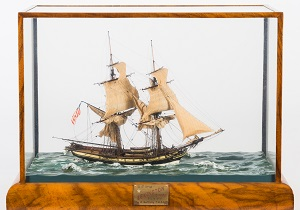 "an exceptional 16' 1"" scale model of the us brig 'lexington' (1775) modelled by donald mcnarry frsa"